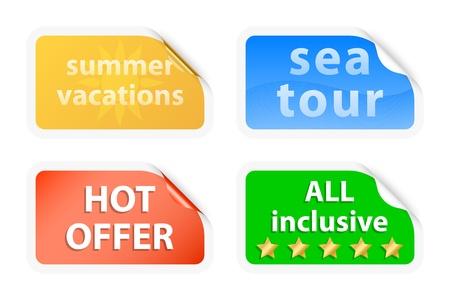 Summer vacations labels. Vector illustration Illustration