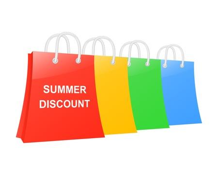 Summer discount shopping bags set. Vector illustration Stock Vector - 14837008