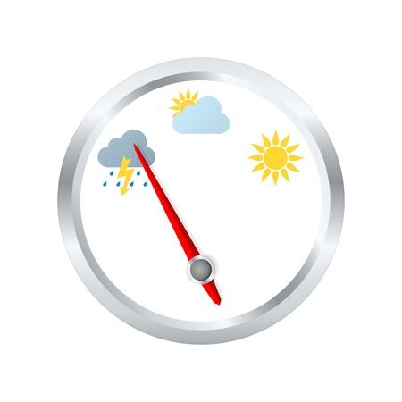 Barometer aneroïde geeft stormachtig weer. Vector illustratie