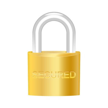 access restricted: Secured brass padlock.