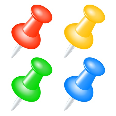 push pins: Set of colored push pins.  Illustration