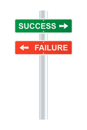 Success and failure signpost. Stock Vector - 15282403