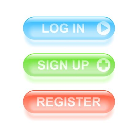 log in: Glassy register buttons.