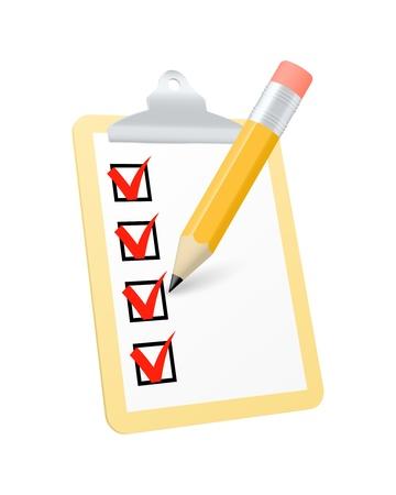 task list: Clipboard icon.  Illustration