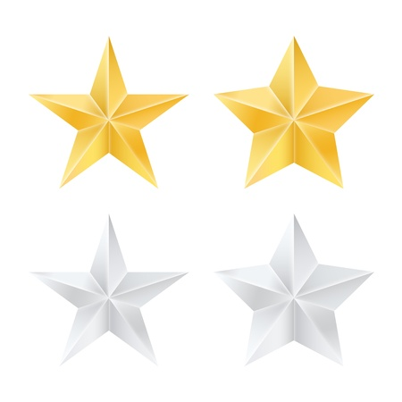 Set of golden and silver stars.  Vector