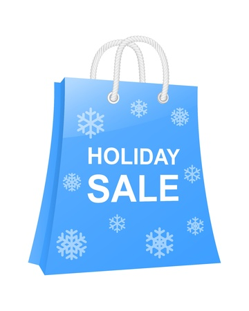 Winter holidays shopping bag.  Vector