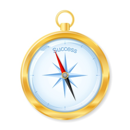 Golden compass points to success.  Stock Vector - 16023078