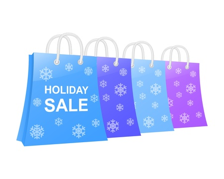 Winter holidays shopping bag set  illustration Stock Vector - 16555218