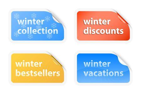 Winter vacations labels  illustration Vector