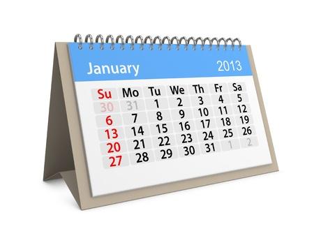 Maandkalender voor Nieuwjaar 2013 Januari
