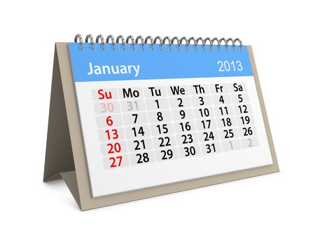 Monthly calendar for New Year 2013  January Stock Photo - 16555210