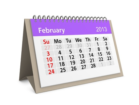 Monthly calendar for New Year 2013  February Stock Photo - 16555208