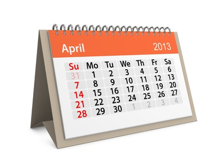 Monthly calendar for New Year 2013  April Stock Photo - 16555205