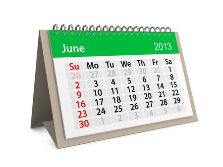 Monthly calendar for New Year 2013  June Stock Photo - 16555211