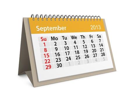 Monthly calendar for New Year 2013  September Stock Photo - 16555212