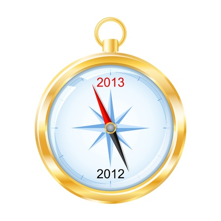 Golden compass points to New Year 2013   Stock Vector - 16643478
