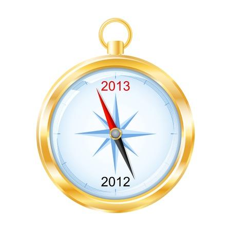 Gouden kompas wijst naar New Year 2013