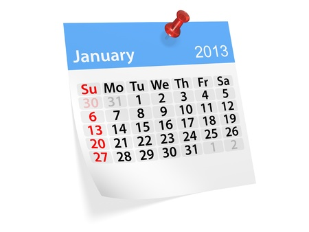Monthly calendar for New Year 2013  January  Stock Photo - 16643461