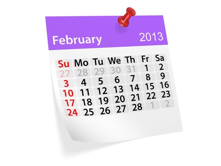Monthly calendar for New Year 2013  February