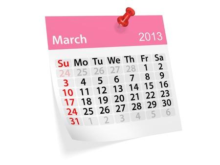 Maandkalender voor Nieuwjaar 2013 Maart
