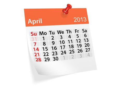 Monthly calendar for New Year 2013  April Stock Photo - 16643457