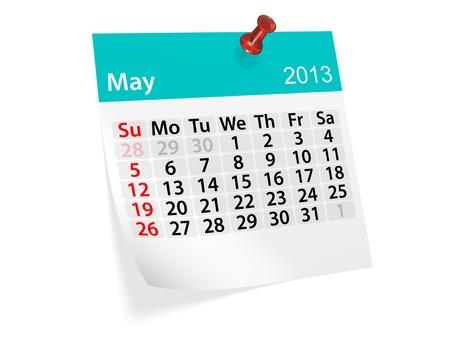 Maandelijkse kalender voor Nieuwjaar 2013 Mei Stockfoto