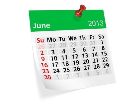 Monthly calendar for New Year 2013  June  photo