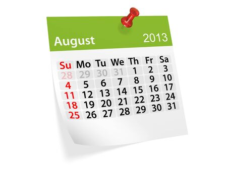 Monthly calendar for New Year 2013  August  photo