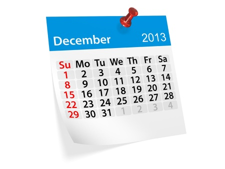 Monthly calendar for New Year 2013  December