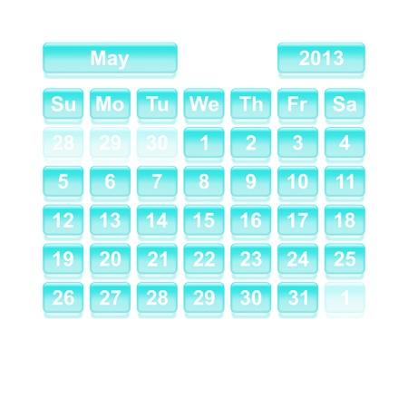 Monthly calendar for New Year 2013  May Stock Vector - 16818363