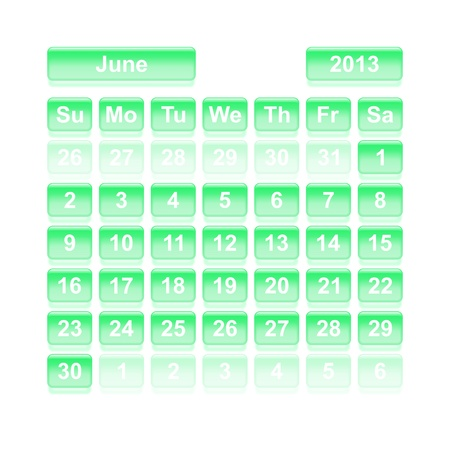 Monthly calendar for New Year 2013  June  Vector