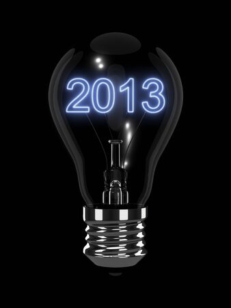forthcoming: New Year 2013 light bulb. Isolated on the black background.