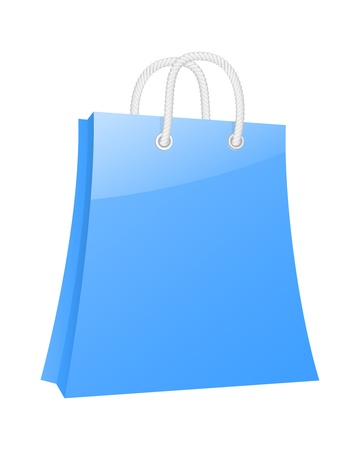Blank blue shopping bag. Stock Vector - 18346169