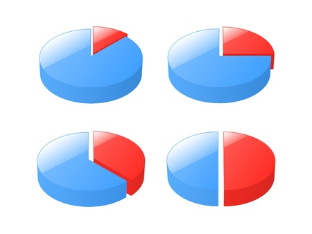 exploded: Set of 3d exploded pie charts