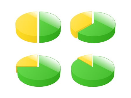 Set of 3d exploded pie charts  illustration  Vector