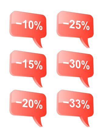 Discount speech bubbles  Part one  illustration Stock Vector - 18732975