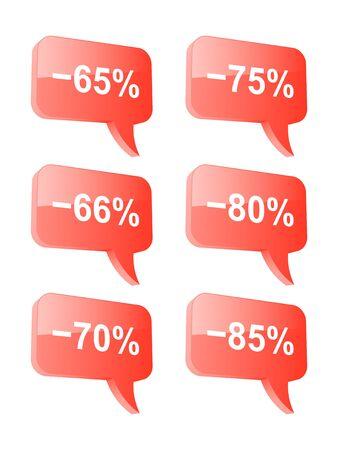 sell off: Discount speech bubbles  Part three  Vector illustration  Illustration