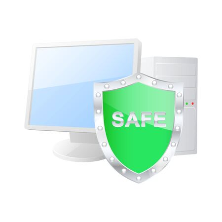 Protected computer icon  Vector illustration Stock Vector - 18873503