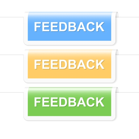 feedback sticker: Colorful feedback labels illustration