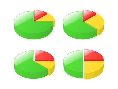 exploded: Set of 3d exploded pie charts illustration  Illustration