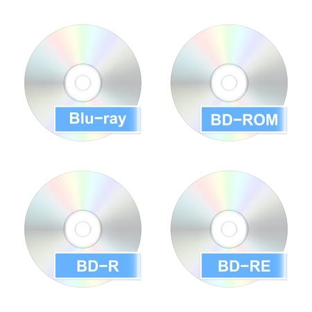 bluray: Blu-ray disk icons illustration