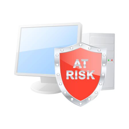 Protected computer icon  Vector illustration  Stock Vector - 18982334