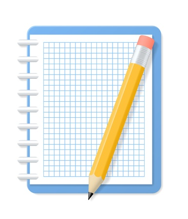 Blank checkered notebook and pencil illustration Stock Vector - 19138053