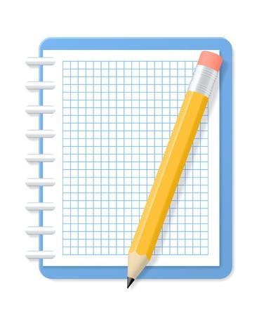 Blank karierten Notizbuch und Bleistift Illustration Vektorgrafik