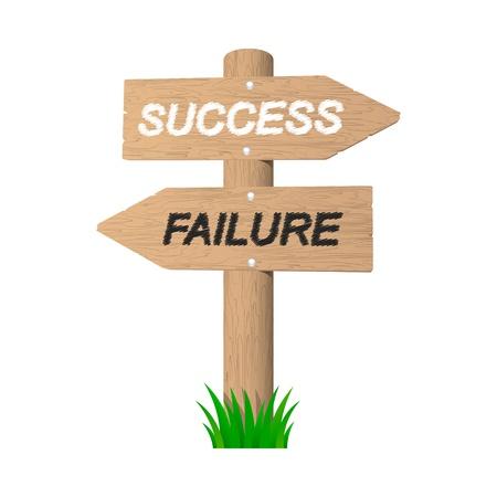 fiasco: Success and failure wooden signpost illustration