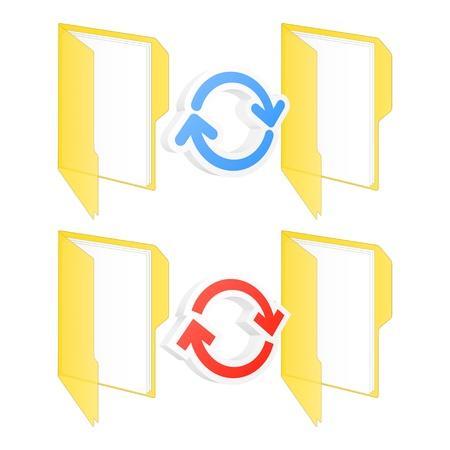 sincronizacion: Sincronizaci�n de carpetas iconos ilustraci�n Vectores