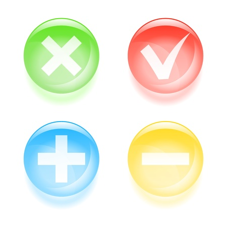Checkbox glassy buttons illustration  Vector