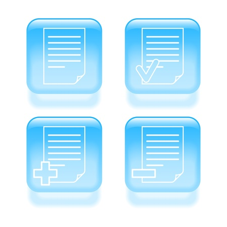 edit button: Glassy document icons illustration.