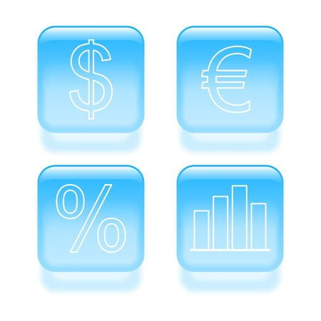 Glassy finance icons illustration. Stock Vector - 19260065