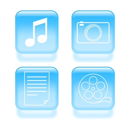 Glassy multimedia icons illustration. Vector
